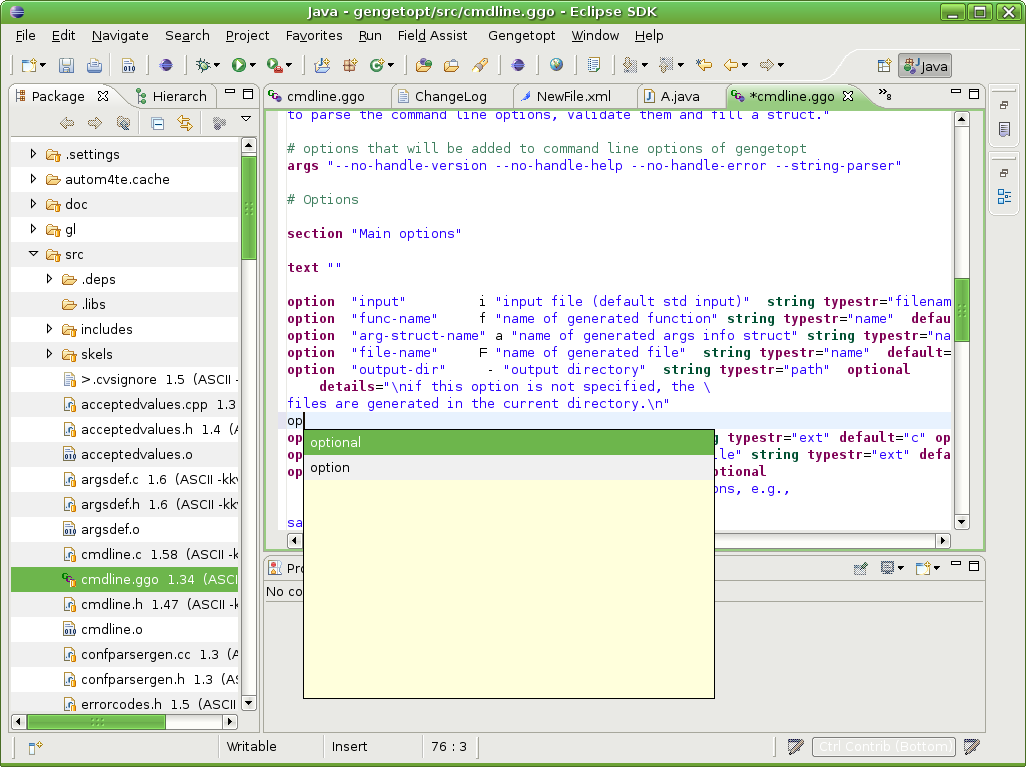 Gengetopt editor in action